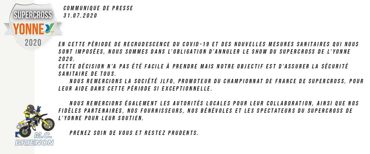 Annulation du Supercross Yonne-2020 suite pandemie coronavirus